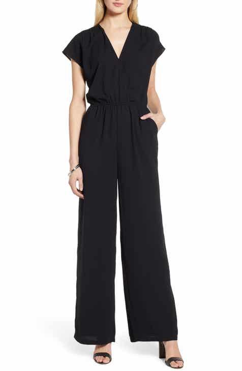 6106f7522309 Halogen® Faux Wrap Jumpsuit (Regular   Petite)