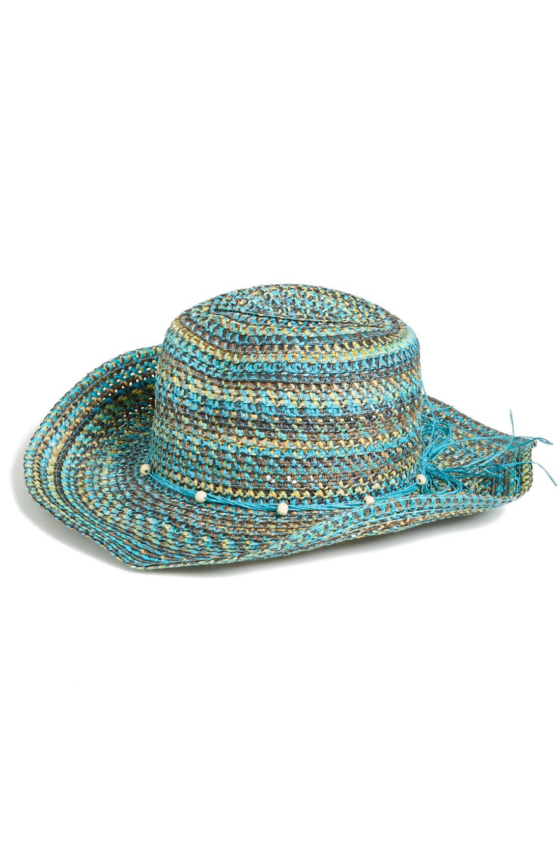 Multicolor Straw Hat,                             Main thumbnail 1, color,                             Turquoise