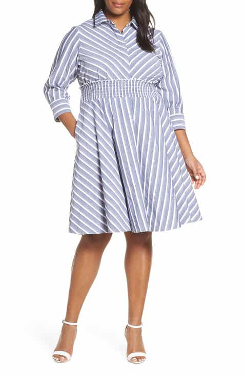 7041972936b Eliza J Stripe Smocked Waist Shirtdress (Plus Size)