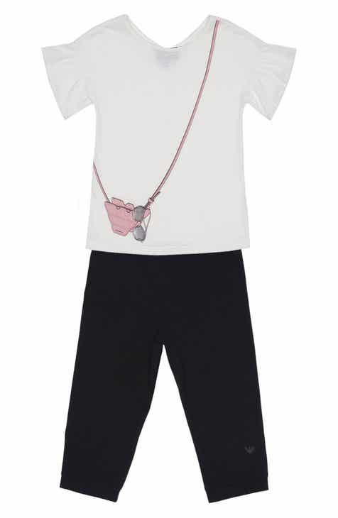 634bfe3c6b8f Armani Junior Handbag Graphic Tee   Jogger Pants Set (Little Girls   Big  Girls)
