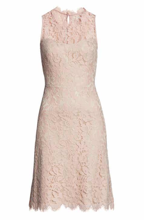 8fd8d72a0db Eliza J High Neck Lace Sheath Dress (Regular   Petite)