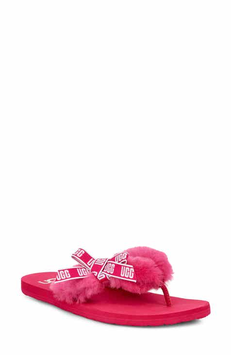 fc49144bffcfee UGG® Sunset Graphic Genuine Shearling Flip Flop (Women)