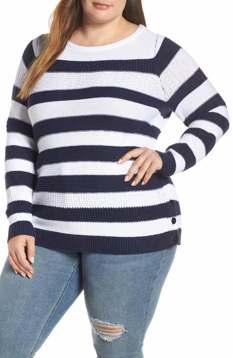 Caslon® Side Button Cotton Sweater (Plus Size) by CASLON