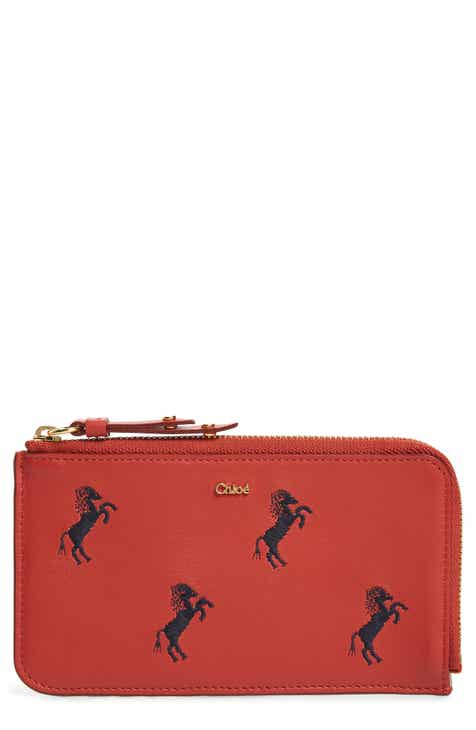 Chloé Embroidered Leather Zip Card Case 4cd56da31a