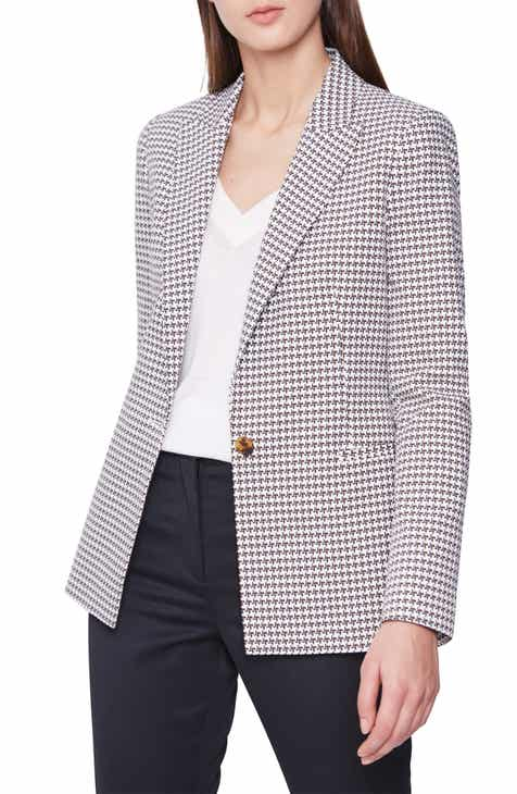 Reiss Carley Houndstooth Check Stretch Cotton Jacket by REISS