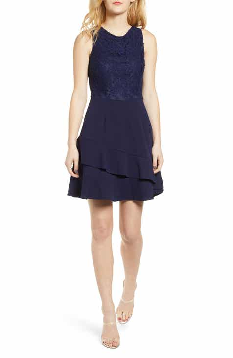 fed80f06157 Speechless Lace Bodice Ruffle Crepe Dress