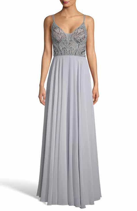 bc9e08d99e7 Xscape Embellished Illusion Bodice V-Neck Chiffon Evening Dress