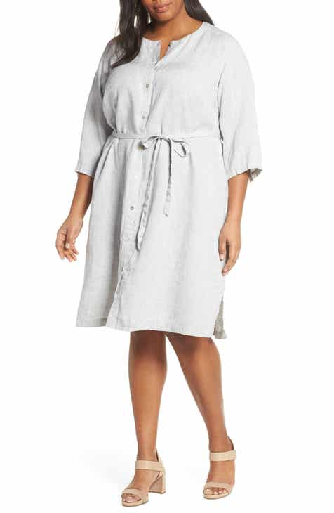 Eileen Fisher Collarless Organic Linen Shirtdress (Plus Size)