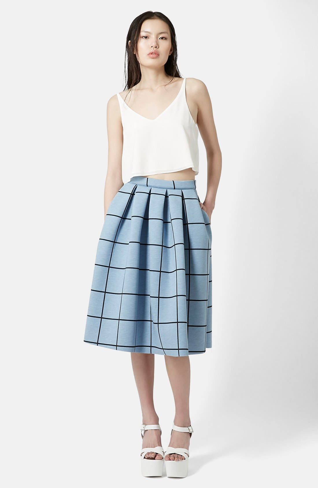 Alternate Image 5  - Topshop Windowpane Midi Skirt
