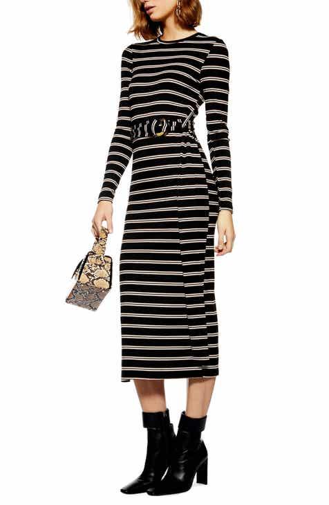d882407f6c08 Topshop Striped Belted Midi Dress