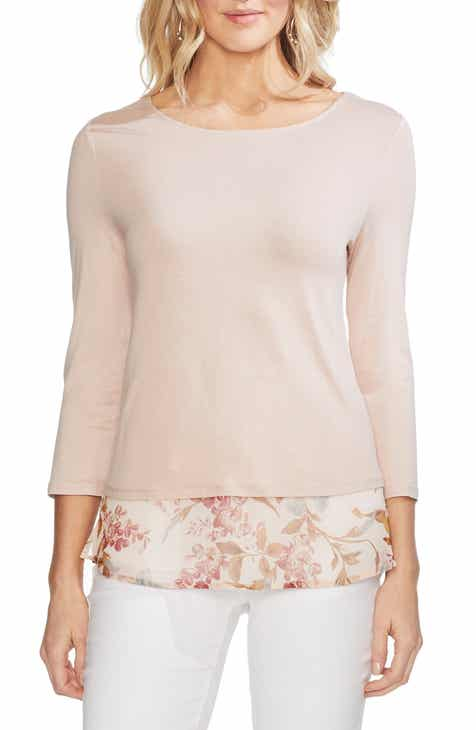 68af8087c472f Vince Camuto Mixed Media Top