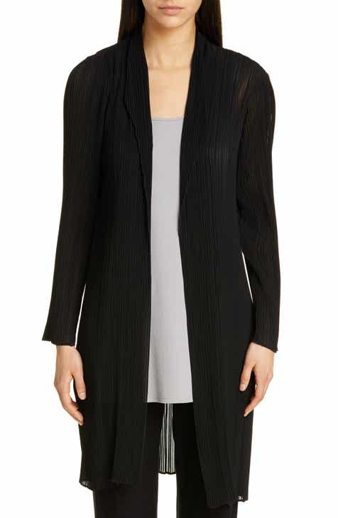 Eileen Fisher Shawl Collar Plissé Long Jacket by EILEEN FISHER
