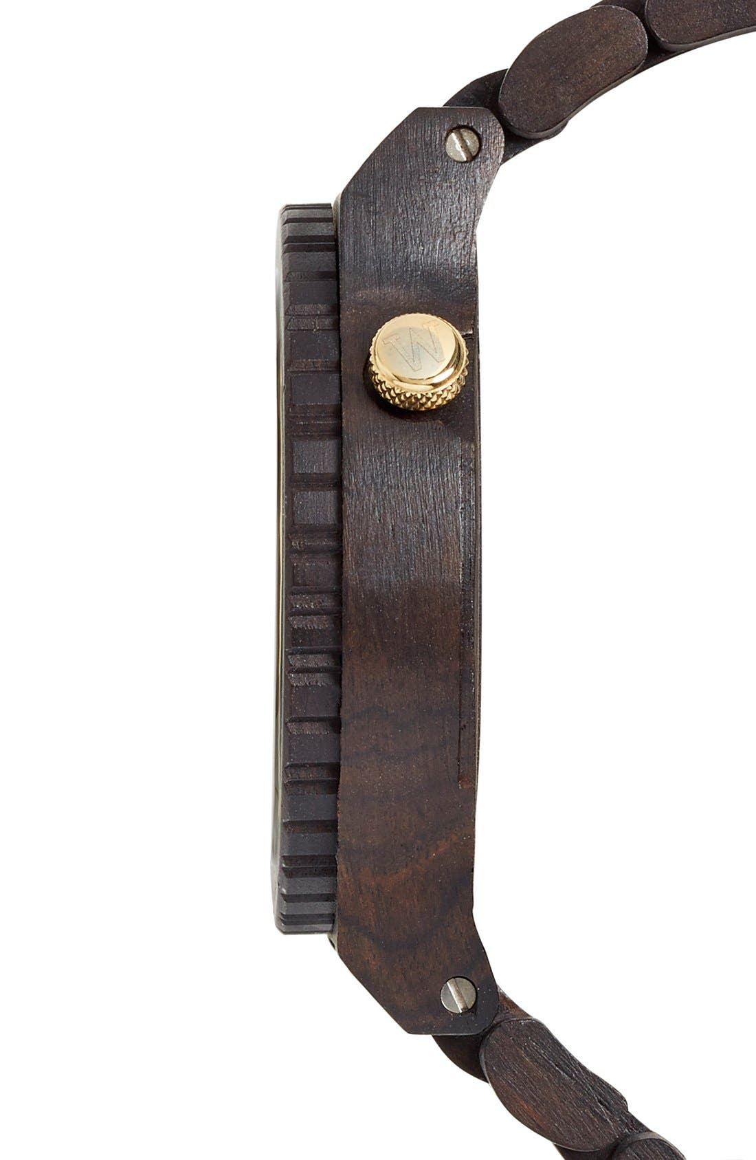 'Alpha' Wood Bracelet Watch, 46mm,                             Alternate thumbnail 3, color,                             Black/ Gold