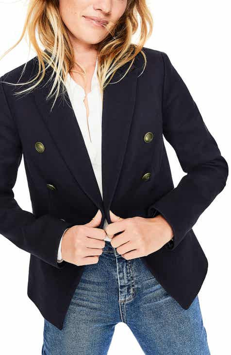 Boden Longeline Twill Double Breasted Blazer by BODEN
