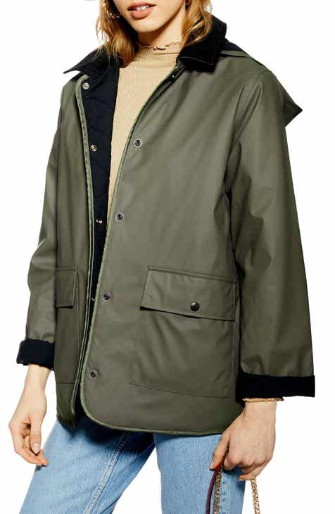 Topshop Contrast Collar Rain Mac Jacket by TOPSHOP