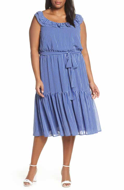 3befe8c1194 MICHAEL Michael Kors Railroad Stripe Tiered Midi Dress (Plus Size)