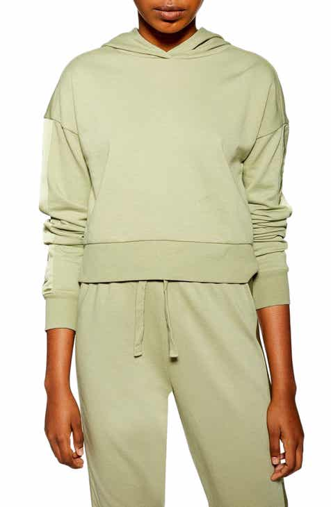 Topshop Satin Panel Lounge Hooded Sweatshirt by TOPSHOP