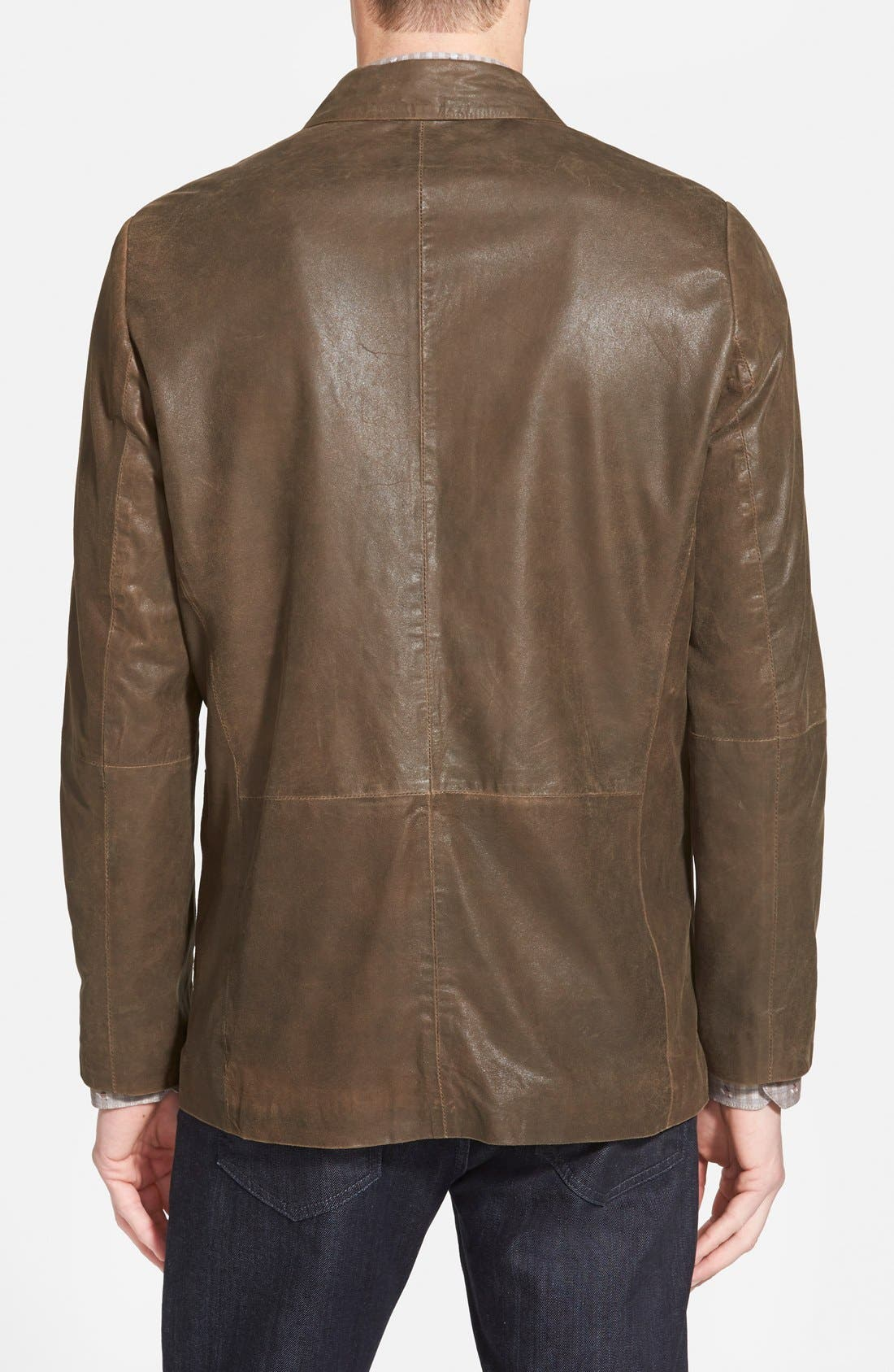 Alternate Image 2  - Missani Le Collezioni Trim Fit Lambskin Leather Sport Coat