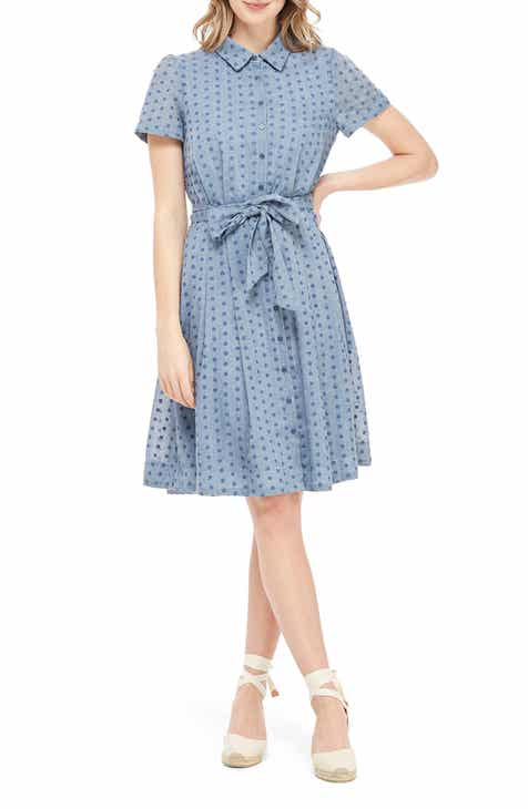 07779b4550e Gal Meets Glam Collection Button Down Fit   Flare Shirtdress (Regular    Petite)