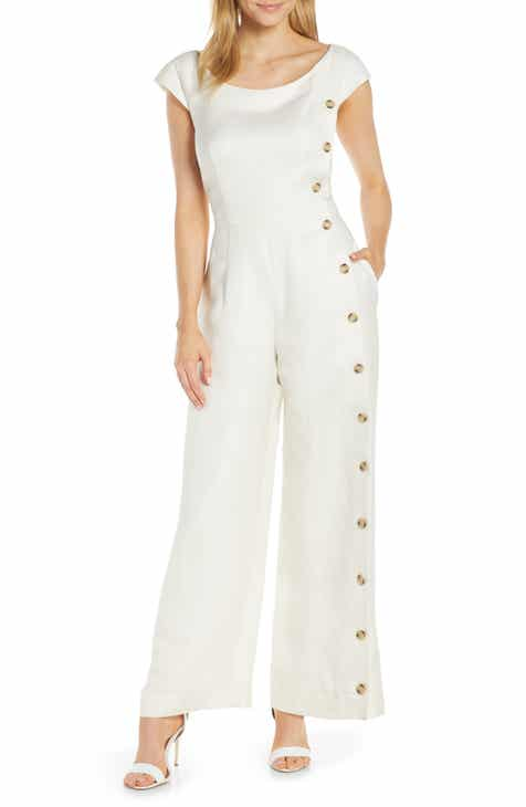 Gal Meets Glam Collection Jordan Wide Leg Linen Blend Jumpsuit by GAL MEETS GLAM COLLECTION