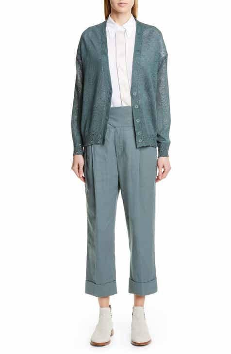Brunello Cucinelli Belted High Waist Linen & Cotton Pants By BRUNELLO CUCINELLI by BRUNELLO CUCINELLI Amazing