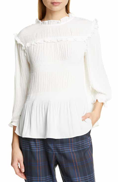 84bf092c8a2471 Ted Baker London Airlie Pleat High Neck Blouse