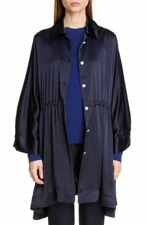 Mansur Gavriel Drawstring Waist Silk Satin Jacket by MANSUR GAVRIEL