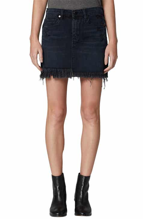 BLANKNYC Asymmetrical Denim Miniskirt (Blue Black Vixen) by BLANKNYC
