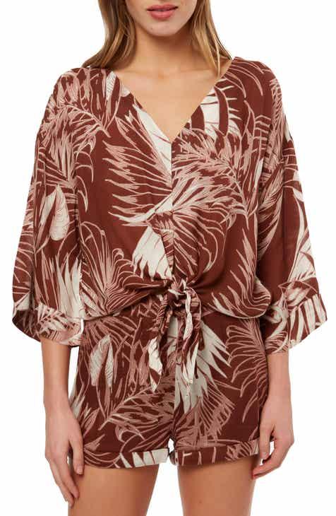 O'Neill Evan Leaf Print Tie Hem Top