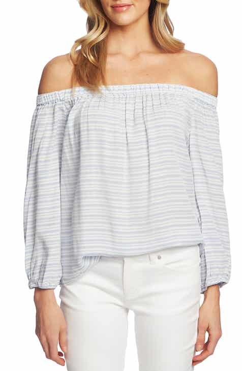 94bfe6e135bfe CeCe Off the Shoulder Jacquard Stripe Top