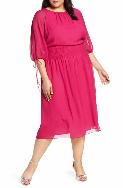 3d44f2aa192 Maggy London Solid Gauze Smocked Waist Midi Dress (Plus Size)