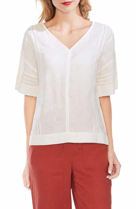 Vince Camuto V-Neck Linen Top