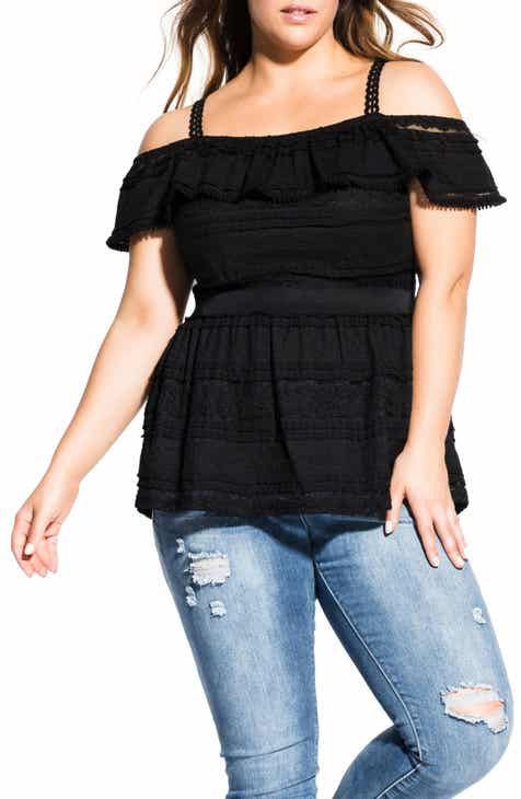 14c8dbc5060fb City Chic Off the Shoulder Ruffle Top (Regular   Plus)