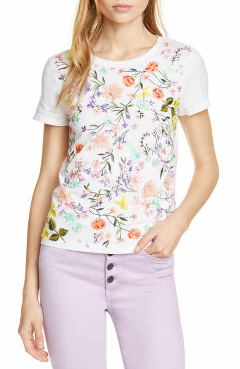 5c1e2f3feff Alice + Olivia Rylyn Embroidered   Appliquéd Cotton Tee