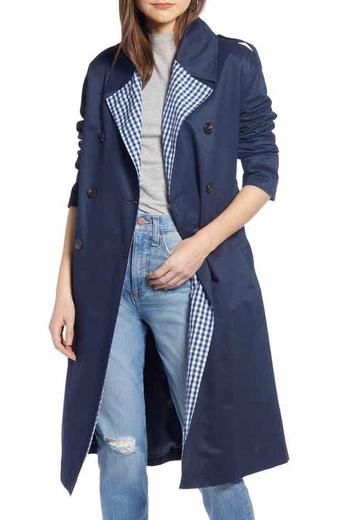 Something Navy Contrast Trim Trench Coat (Nordstrom Exclusive) by SOMETHING NAVY