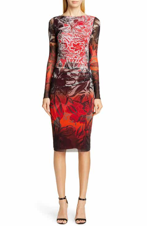 31cae62a4cb5ee Fuzzi Dégradé Floral Long Sleeve Ruched Dress