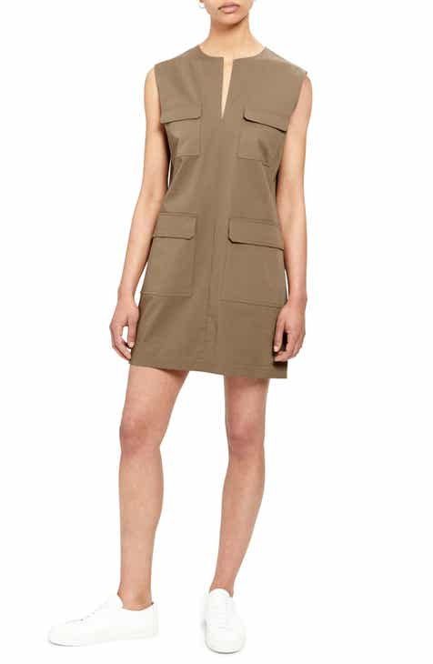 Theory Utilitarian Sleeveless Stretch Cotton Dress