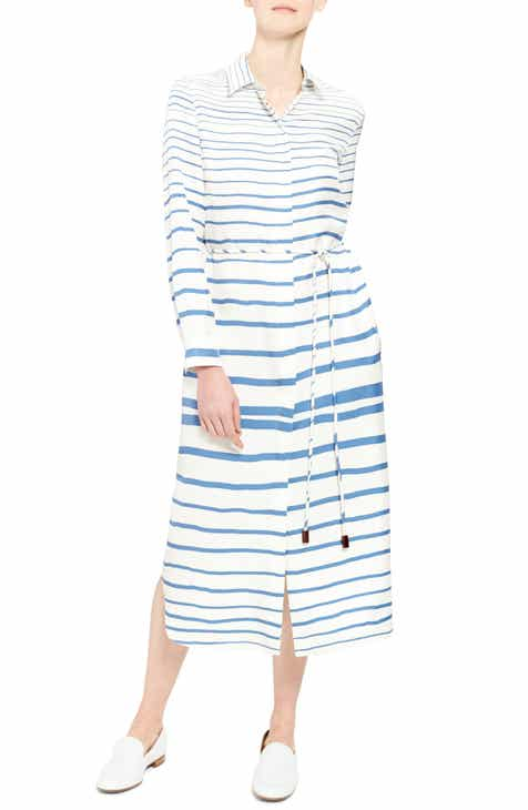 9d1712ebb01 Theory Graduated Stripe Belted Long Sleeve Silk Shirtdress