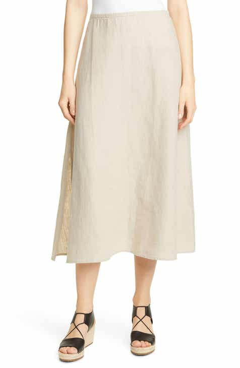 9af3b98241b6 Eileen Fisher Side Slit Organic Linen Skirt (Regular   Petite)