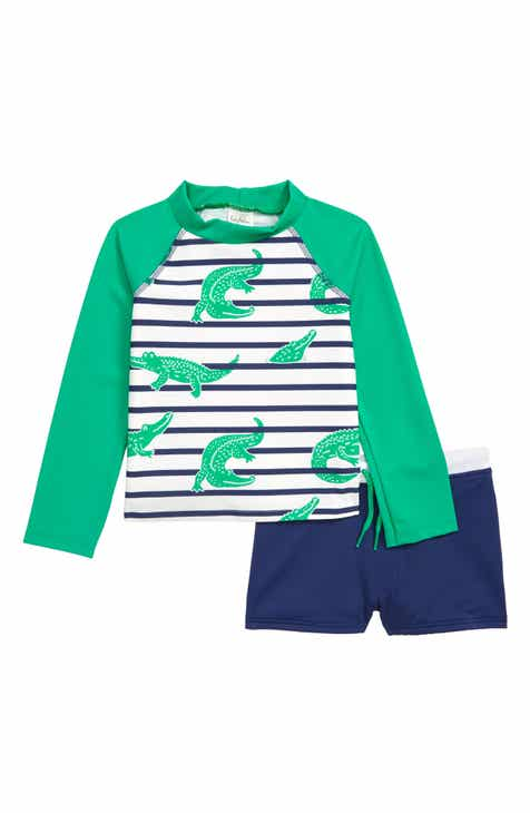 56420f945f Mini Boden Crocodile Two-Piece Rashguard Swimsuit (Baby)