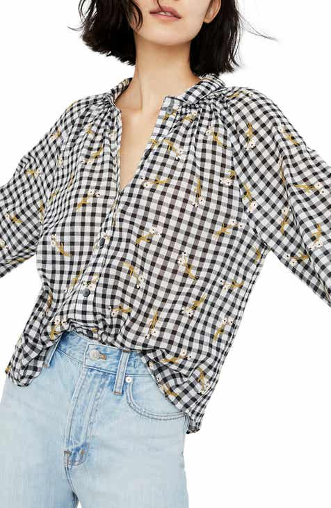 96842868f9e764 Madewell Embroidered Daisy Gingham Peasant Top