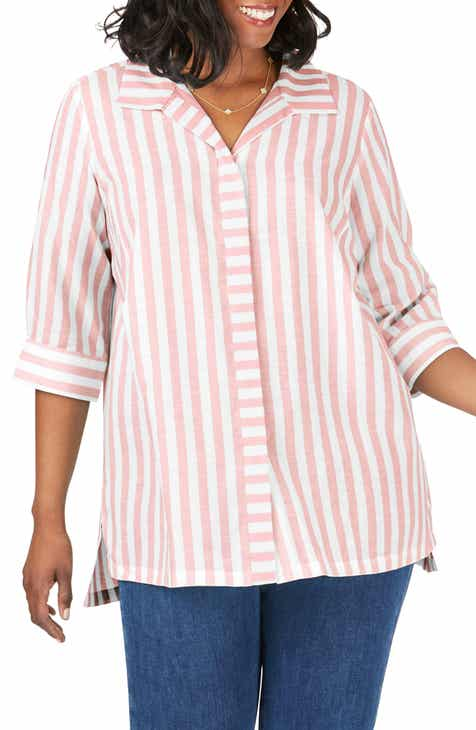 9a884768d2e Foxcroft Skye Stripe Tunic Shirt (Plus Size)