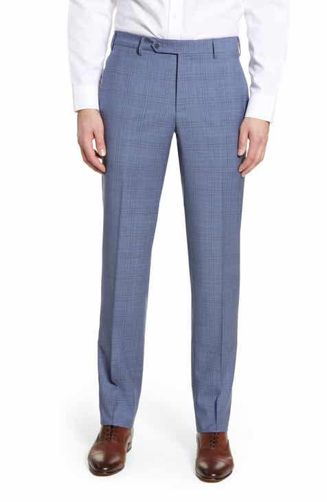 7e52694b40 Zanella Parker Flat Front Plaid Wool Trousers