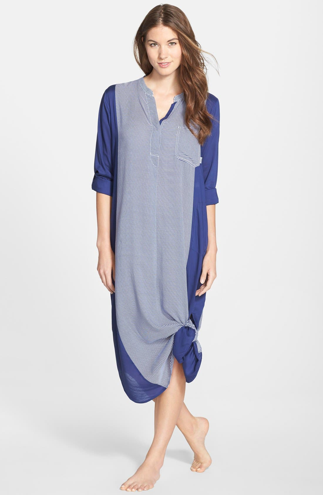 Colorblock Long Sleeve Woven Caftan,                             Main thumbnail 1, color,                             Blue Stripe