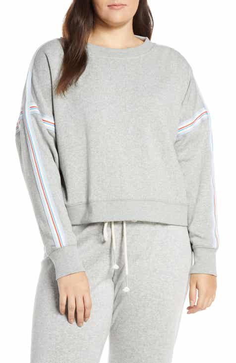 J.Crew Racing Stripes Crop Crewneck Sweatshirt (Regular & Plus Size) by J.CREW