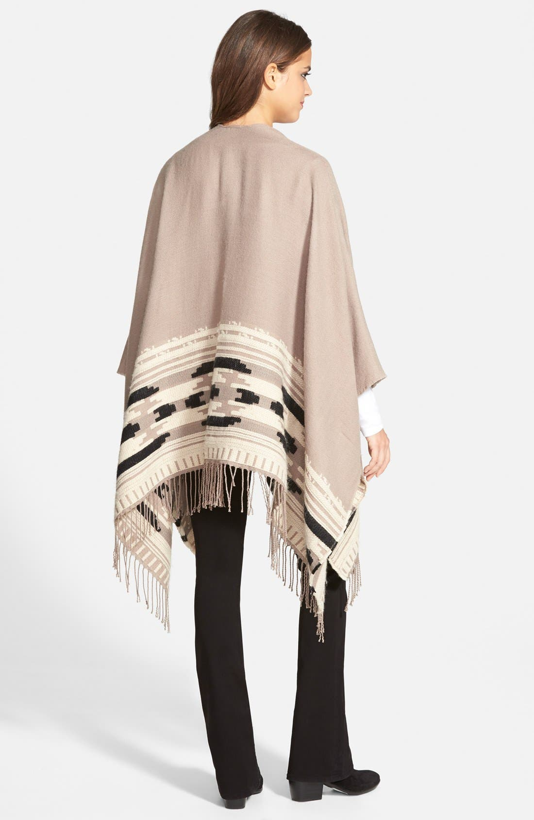 Geometric Weave Cape,                             Alternate thumbnail 2, color,                             Taupe