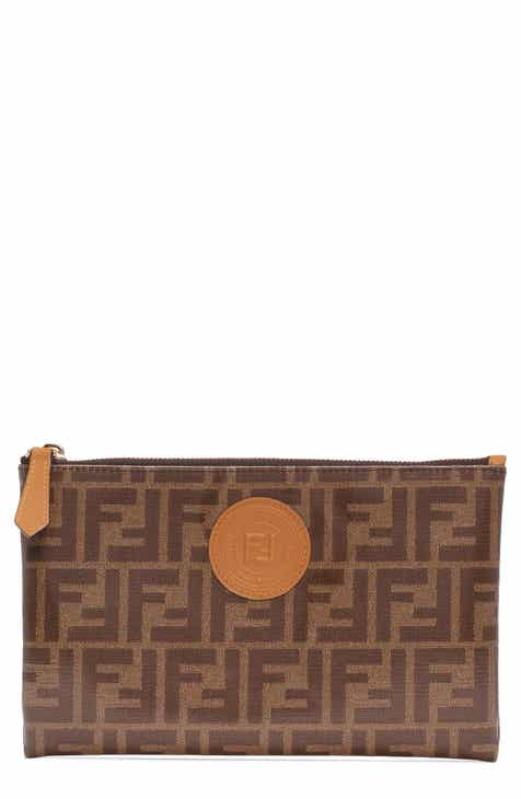 fee24a06d639 Fendi Medium Busta Logo Canvas Zip Pouch