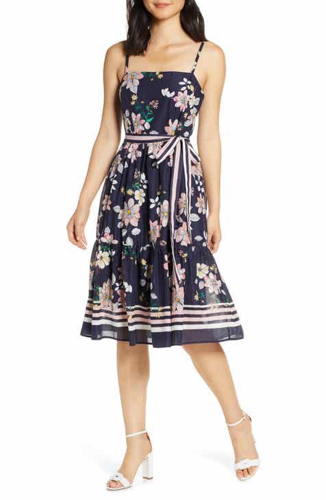 Vince Camuto Floral Belted Cotton Sundress
