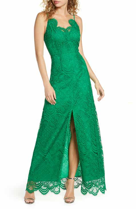 Foxiedox Embroidered Lace Evening Gown