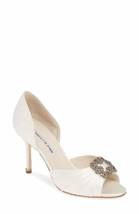 5c02610fb18 Manolo Blahnik Cassiado Crystal Buckle Peep Toe Pump (Women)